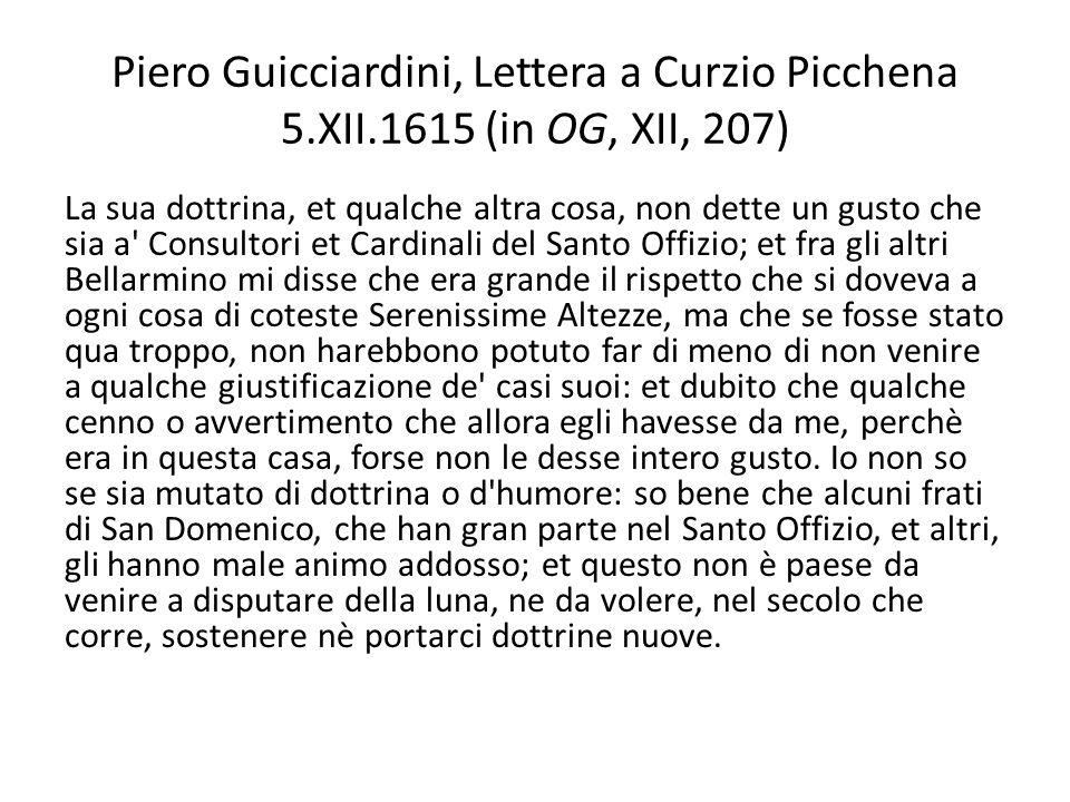 Piero Guicciardini, Lettera a Curzio Picchena 5. XII