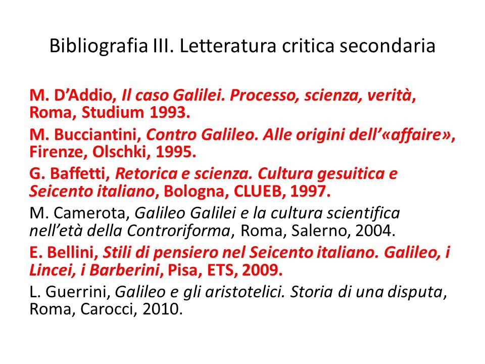 Bibliografia III. Letteratura critica secondaria