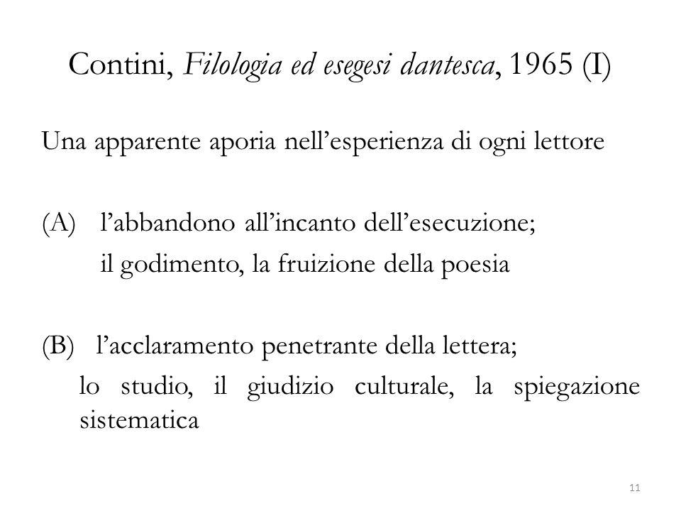 Contini, Filologia ed esegesi dantesca, 1965 (I)