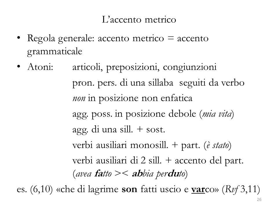 L'accento metrico Regola generale: accento metrico = accento grammaticale. Atoni: articoli, preposizioni, congiunzioni.