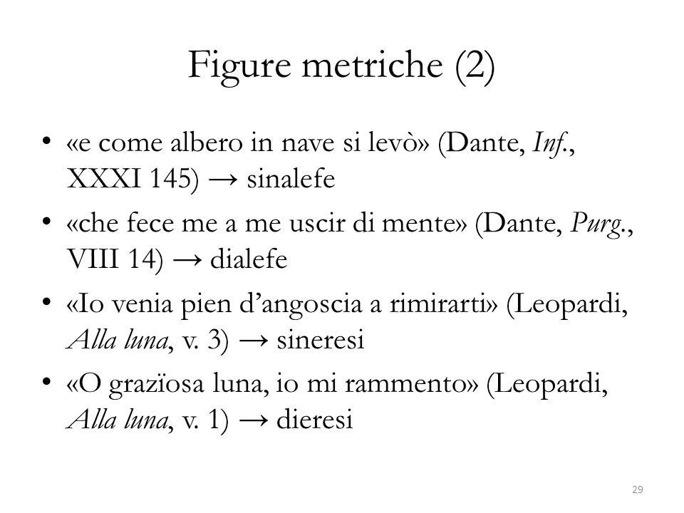 Figure metriche (2) «e come albero in nave si levò» (Dante, Inf., XXXI 145) → sinalefe.