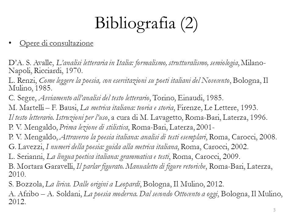 Bibliografia (2) Opere di consultazione