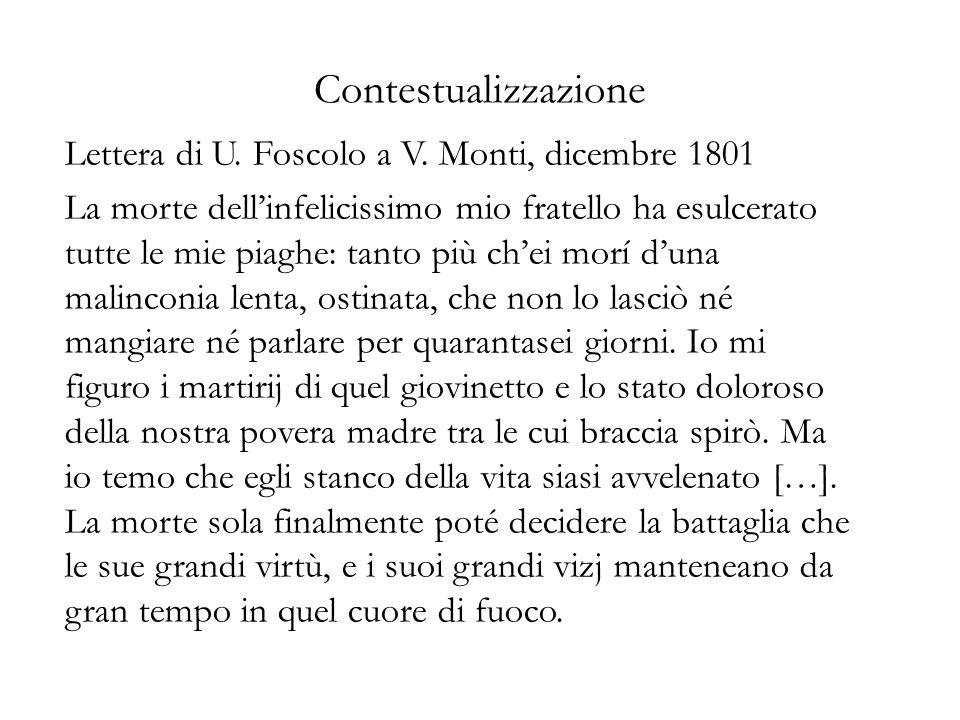 Contestualizzazione Lettera di U. Foscolo a V. Monti, dicembre 1801