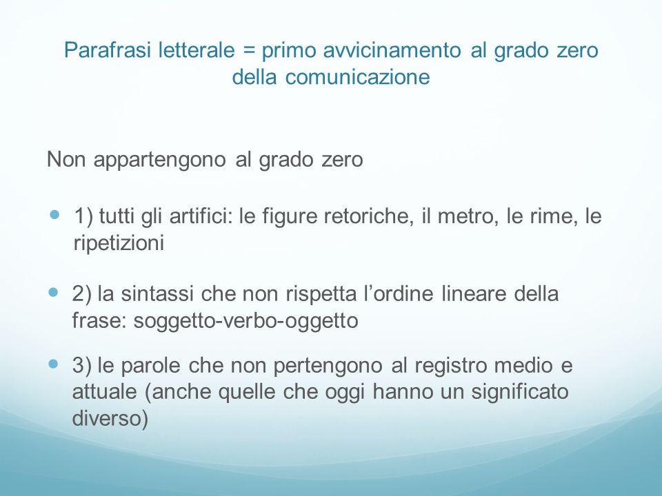 Parafrasi letterale = primo avvicinamento al grado zero della comunicazione