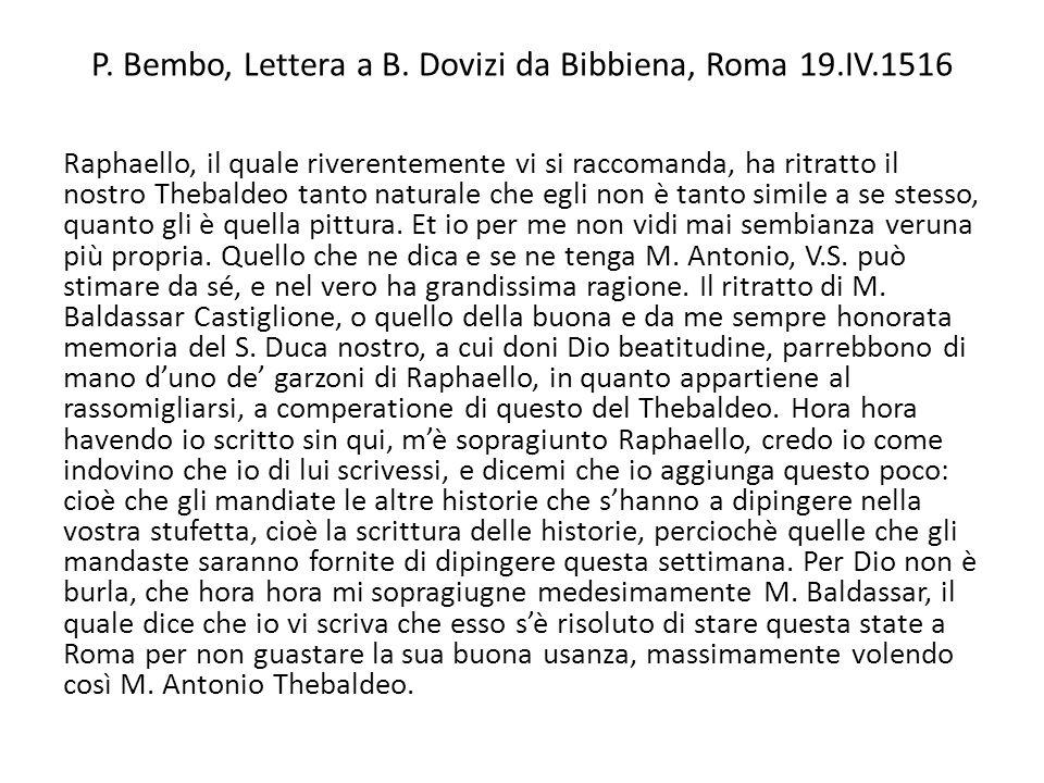 P. Bembo, Lettera a B. Dovizi da Bibbiena, Roma 19.IV.1516