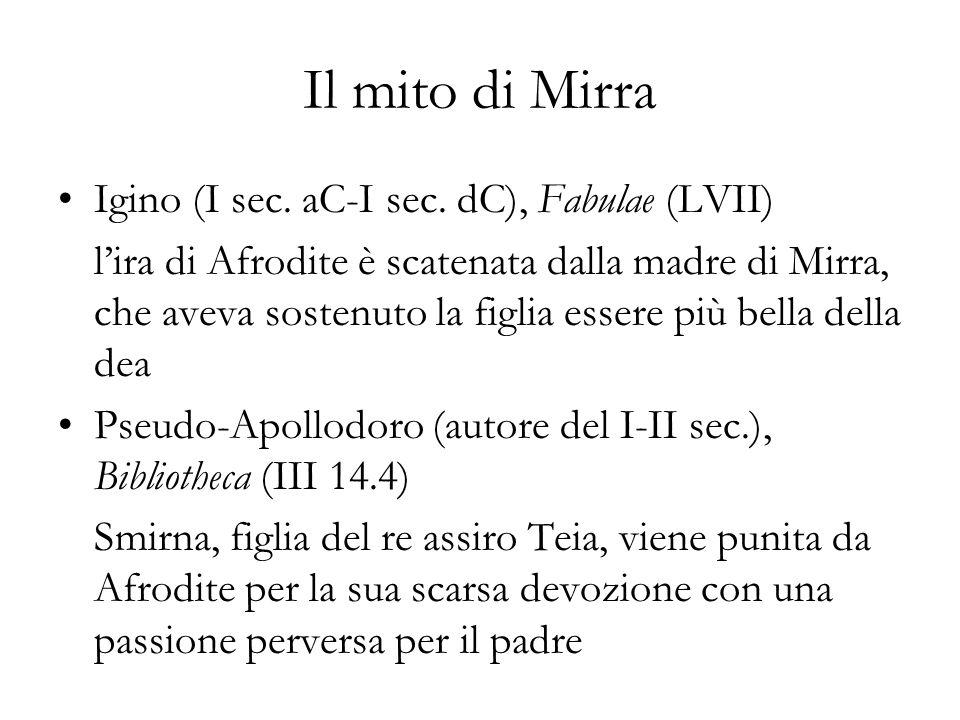 Il mito di Mirra Igino (I sec. aC-I sec. dC), Fabulae (LVII)
