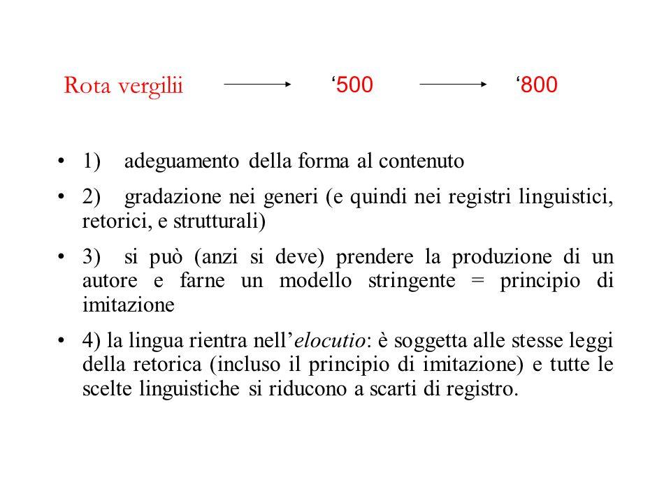 Rota vergilii '500 '800 1) adeguamento della forma al contenuto