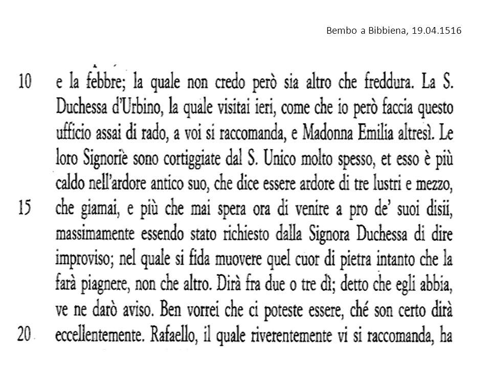 Bembo a Bibbiena, 19.04.1516