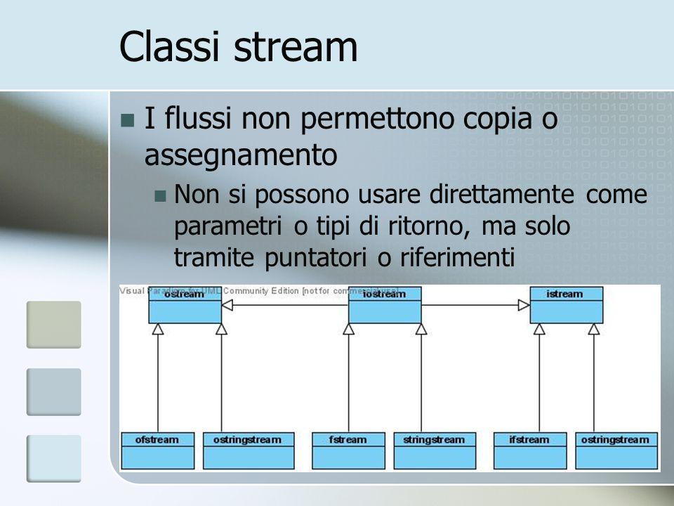Classi stream I flussi non permettono copia o assegnamento