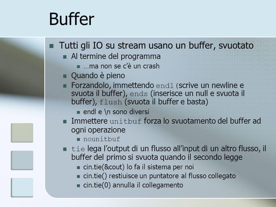 Buffer Tutti gli IO su stream usano un buffer, svuotato