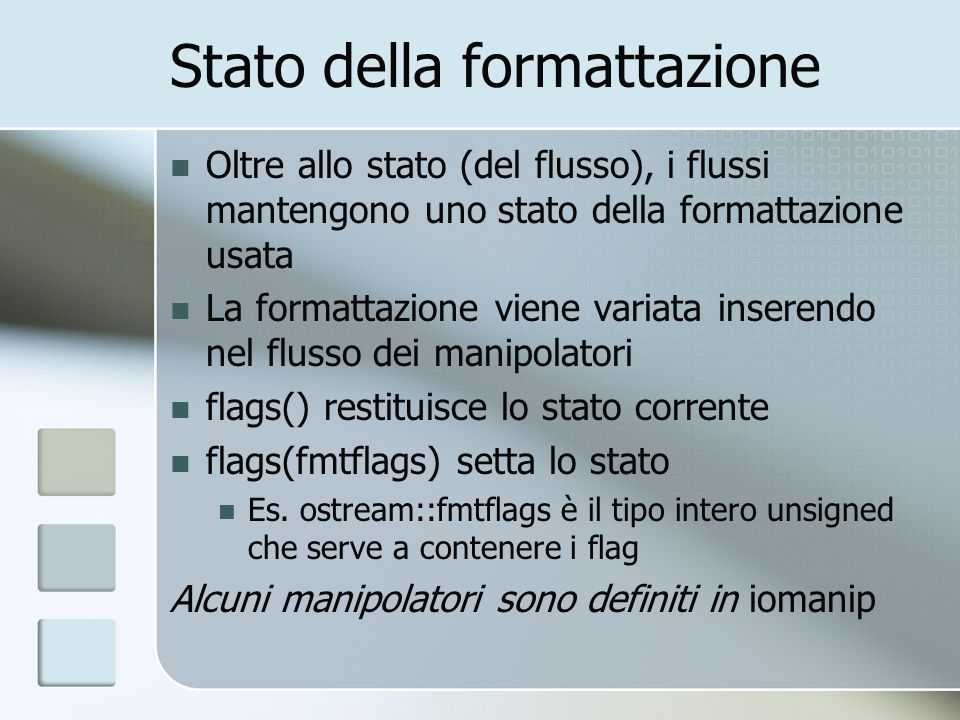 Stato della formattazione
