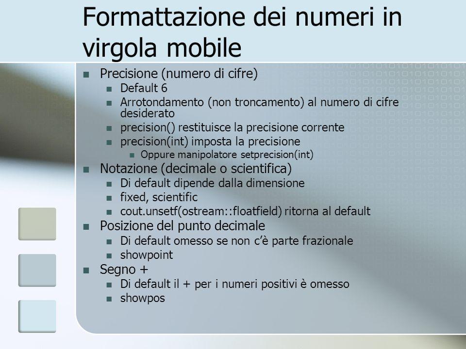 Formattazione dei numeri in virgola mobile