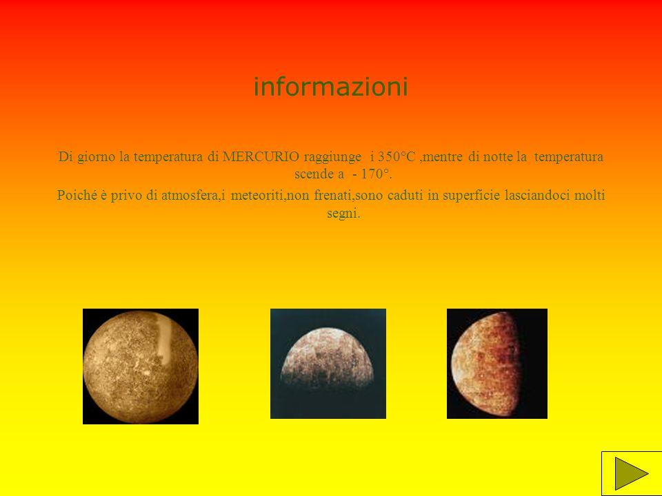 informazioni Di giorno la temperatura di MERCURIO raggiunge i 350°C ,mentre di notte la temperatura scende a - 170°.