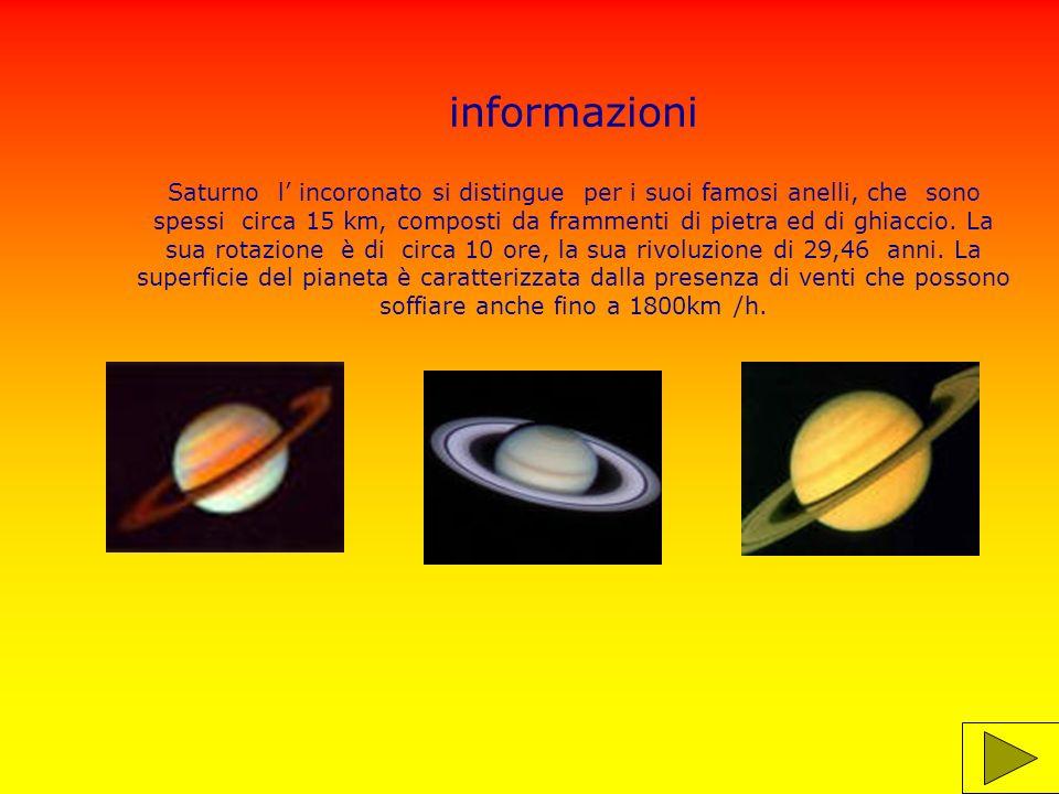 informazioni Saturno l' incoronato si distingue per i suoi famosi anelli, che sono spessi circa 15 km, composti da frammenti di pietra ed di ghiaccio.