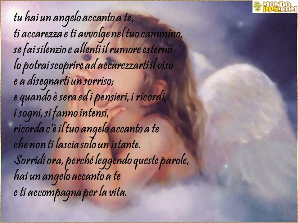 tu hai un angelo accanto a te, ti accarezza e ti avvolge nel tuo cammino, se fai silenzio e allenti il rumore esterno lo potrai scoprire ad accarezzarti il viso e a disegnarti un sorriso; e quando è sera ed i pensieri, i ricordi, i sogni, si fanno intensi, ricorda c è il tuo angelo accanto a te che non ti lascia solo un istante.