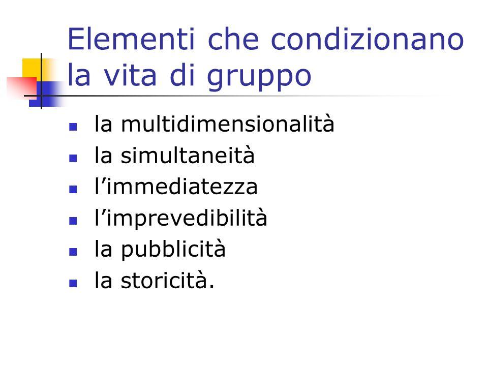 Elementi che condizionano la vita di gruppo