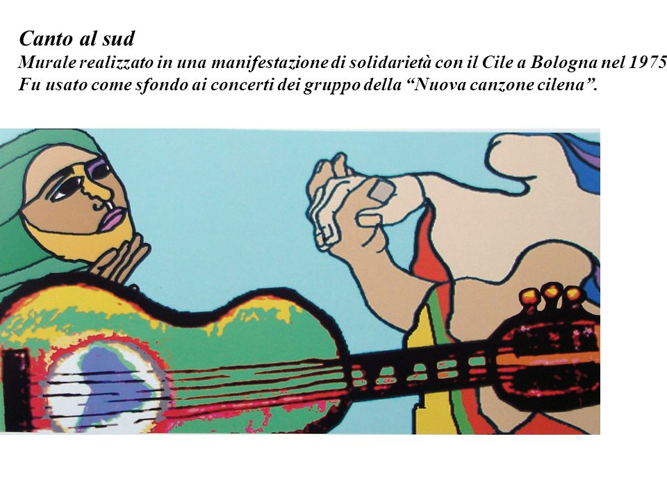 Canto al sud Murale realizzato in una manifestazione di solidarietà con il Cile a Bologna nel 1975.