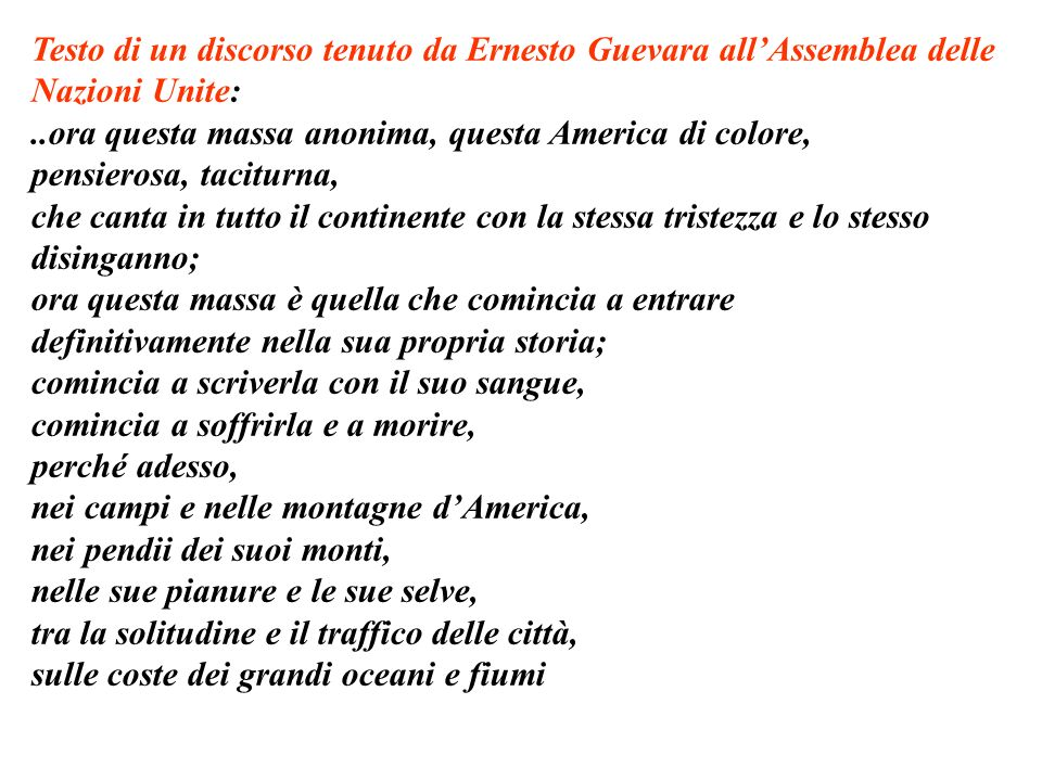 Testo di un discorso tenuto da Ernesto Guevara all'Assemblea delle