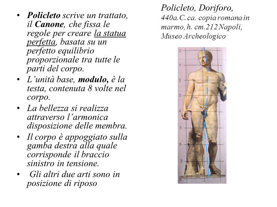 Policleto scrive un trattato, il Canone, che fissa le regole per creare la statua perfetta, basata su un perfetto equilibrio proporzionale tra tutte le parti del corpo.