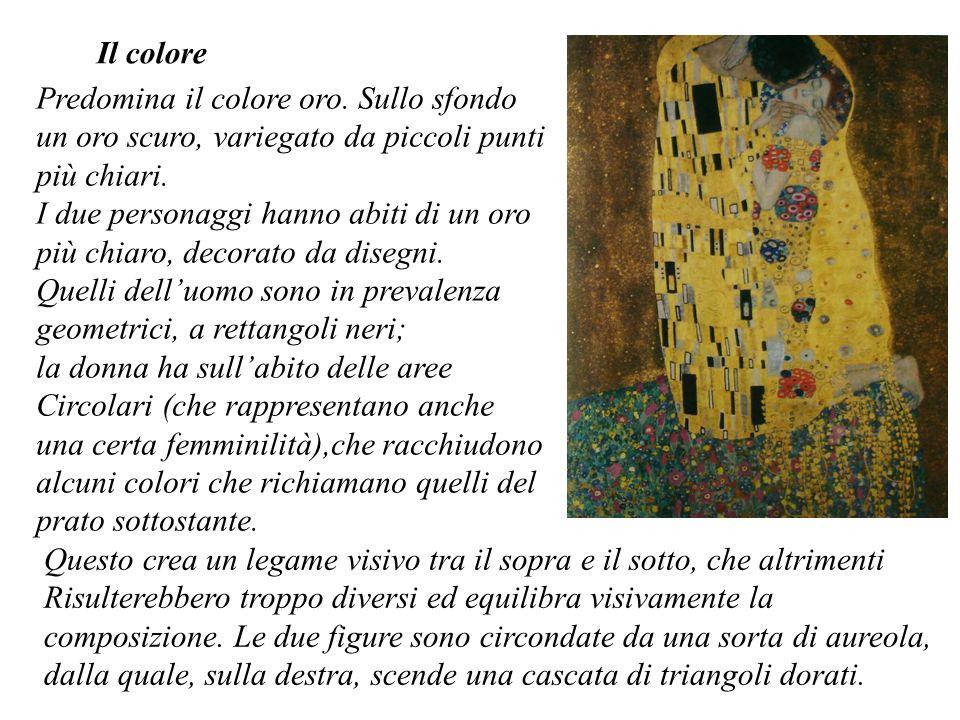 Il colore Predomina il colore oro. Sullo sfondo un oro scuro, variegato da piccoli punti più chiari.