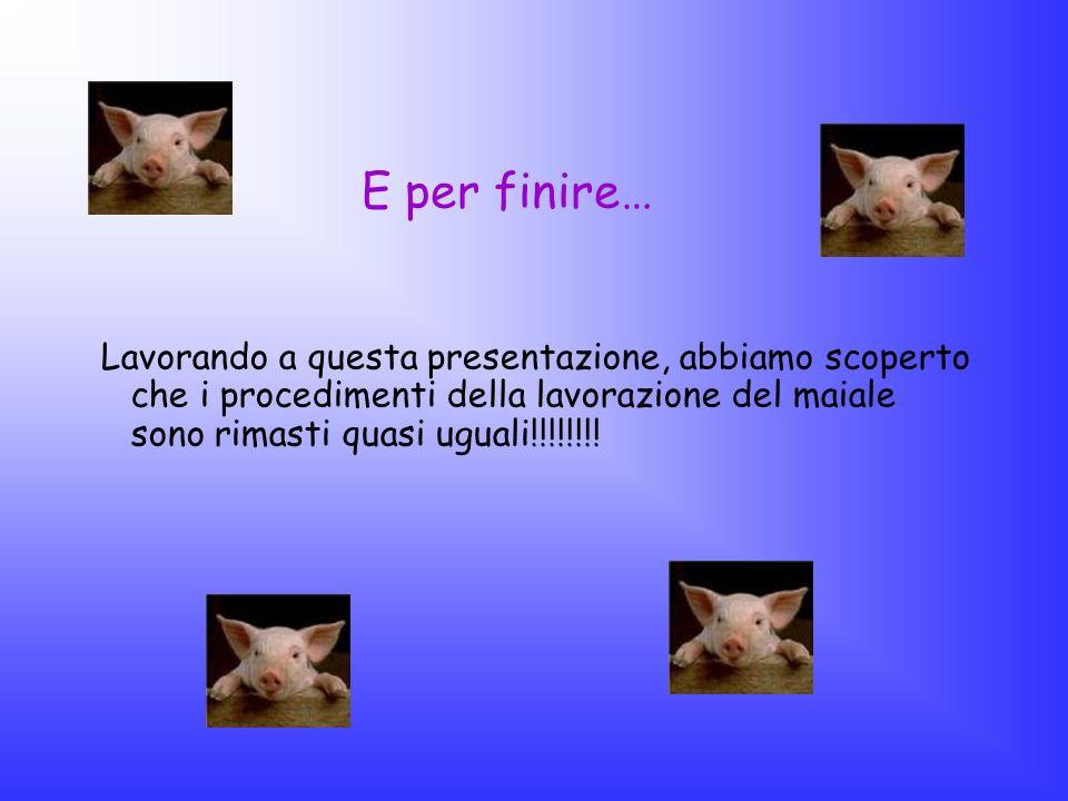 E per finire…Lavorando a questa presentazione, abbiamo scoperto che i procedimenti della lavorazione del maiale sono rimasti quasi uguali!!!!!!!!