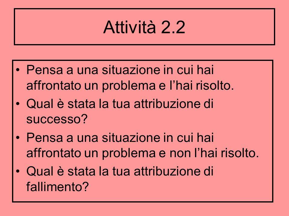 Attività 2.2 Pensa a una situazione in cui hai affrontato un problema e l'hai risolto. Qual è stata la tua attribuzione di successo