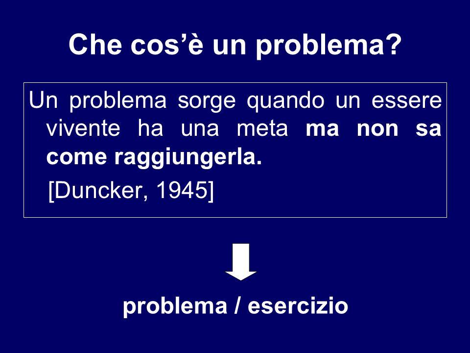 Che cos'è un problema Un problema sorge quando un essere vivente ha una meta ma non sa come raggiungerla.