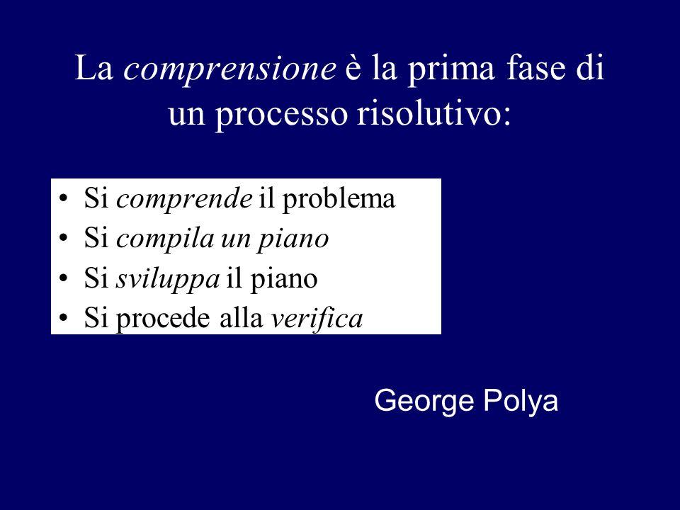 La comprensione è la prima fase di un processo risolutivo: