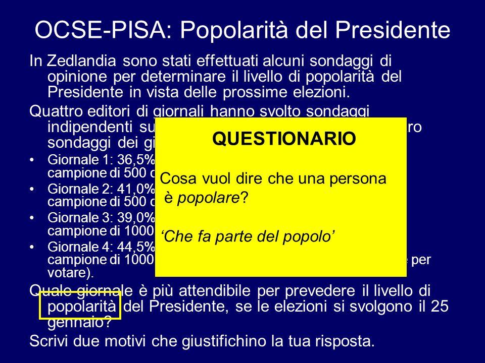 OCSE-PISA: Popolarità del Presidente