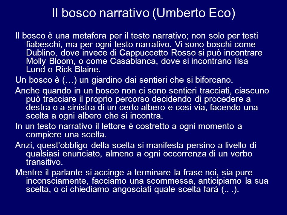 Il bosco narrativo (Umberto Eco)