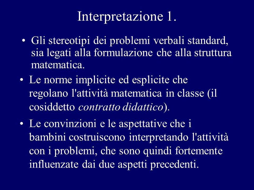 Interpretazione 1. Gli stereotipi dei problemi verbali standard, sia legati alla formulazione che alla struttura matematica.