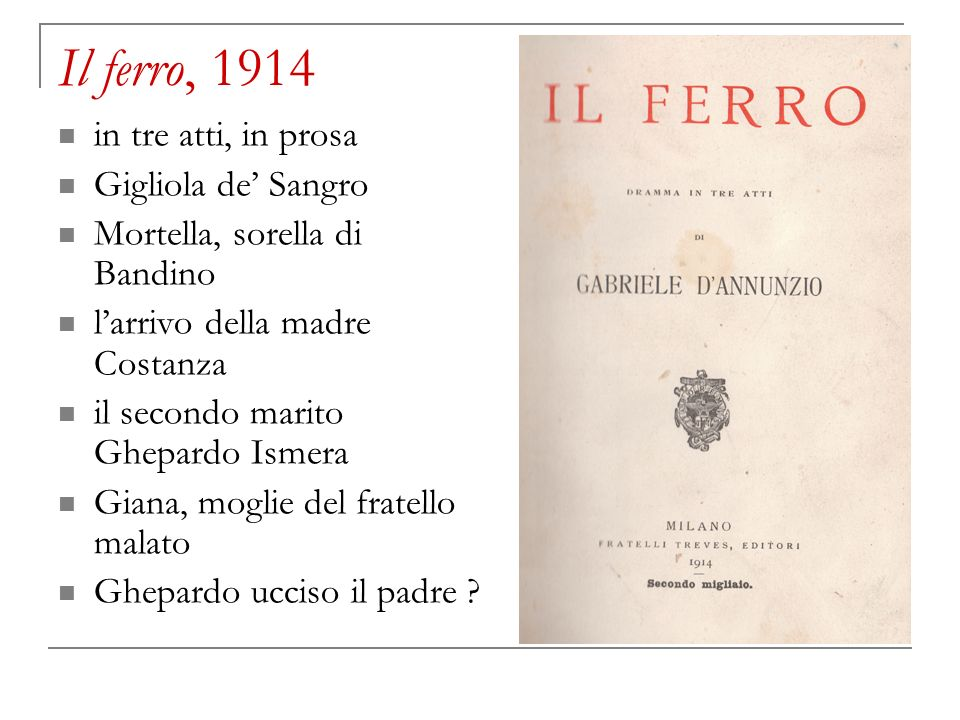 Il ferro, 1914 in tre atti, in prosa Gigliola de' Sangro