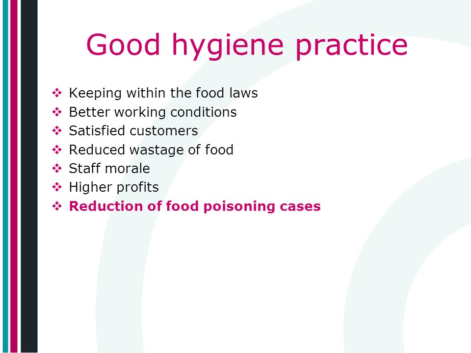 Good hygiene practice Keeping within the food laws