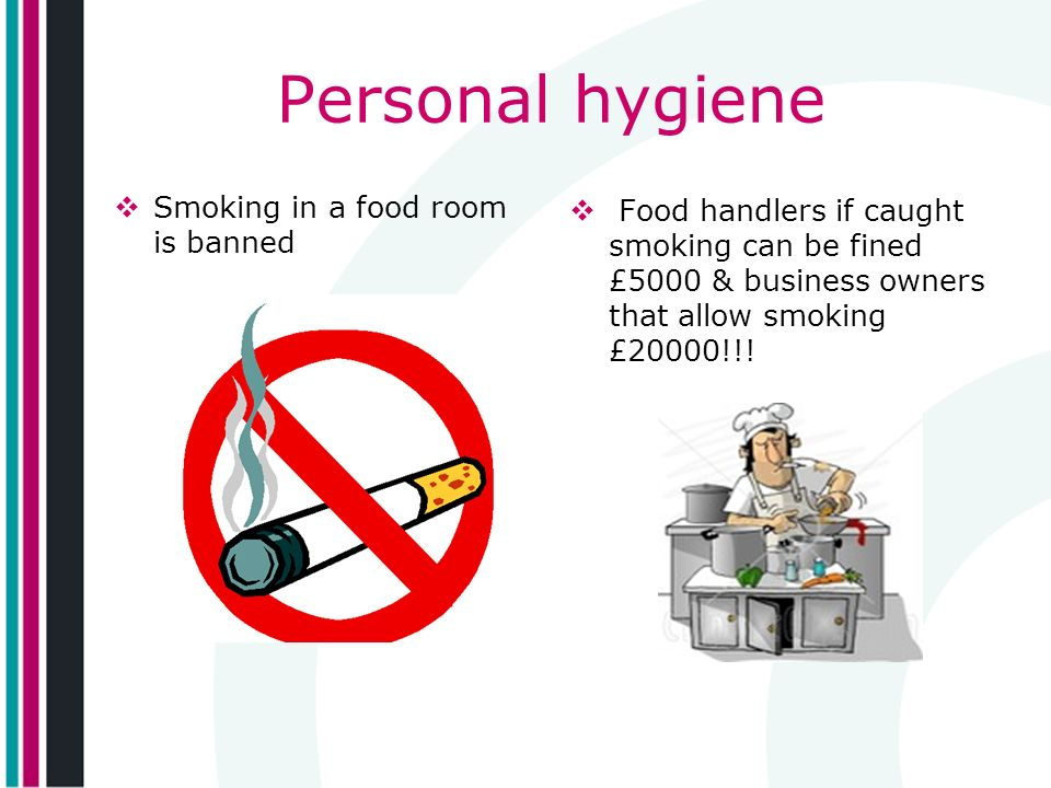 Personal hygiene Smoking in a food room is banned