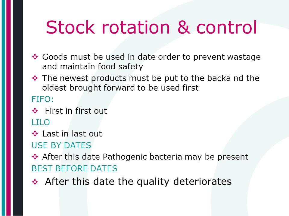 Stock rotation & control