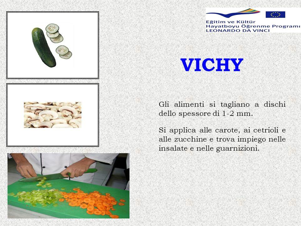 VICHY Gli alimenti si tagliano a dischi dello spessore di 1-2 mm.