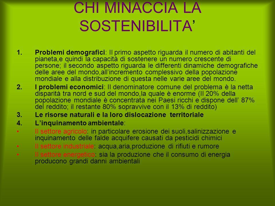 CHI MINACCIA LA SOSTENIBILITA'
