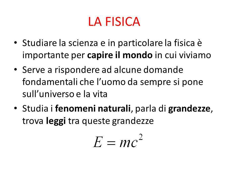 LA FISICA Studiare la scienza e in particolare la fisica è importante per capire il mondo in cui viviamo.