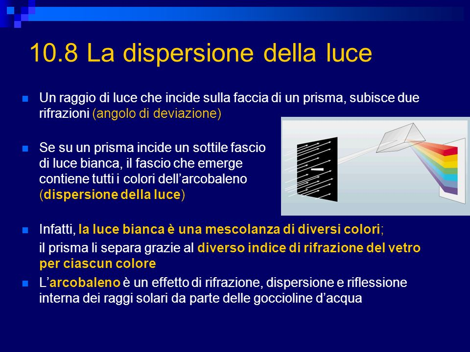 10.8 La dispersione della luce