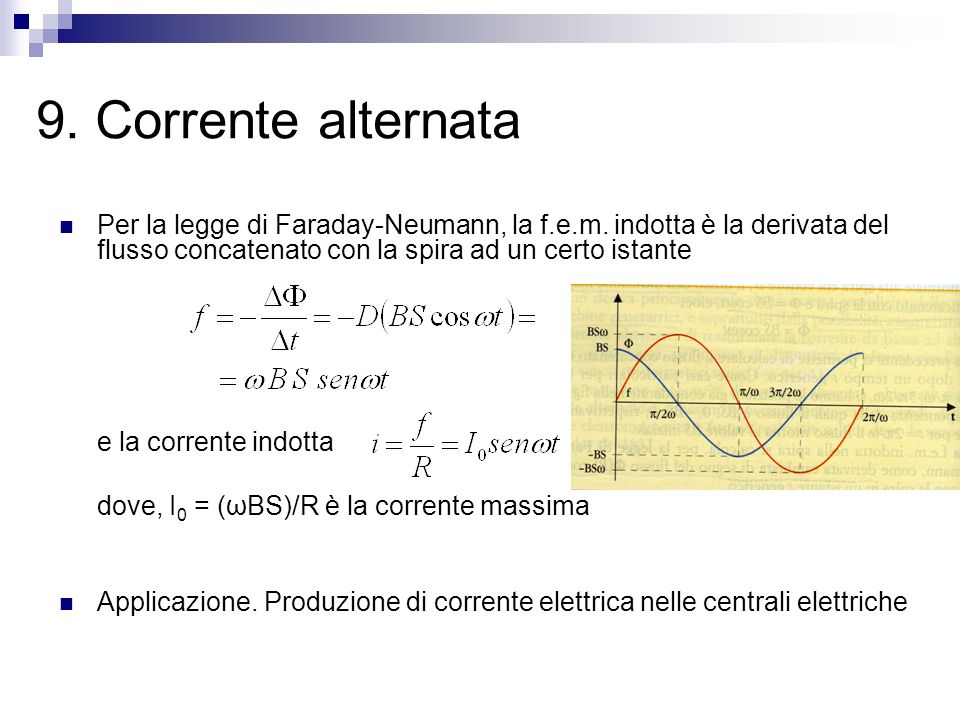 9. Corrente alternata Per la legge di Faraday-Neumann, la f.e.m. indotta è la derivata del flusso concatenato con la spira ad un certo istante.