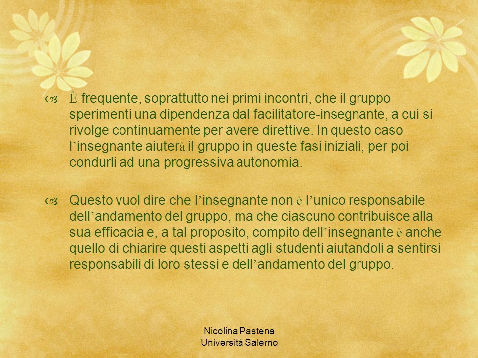 Nicolina Pastena Università Salerno