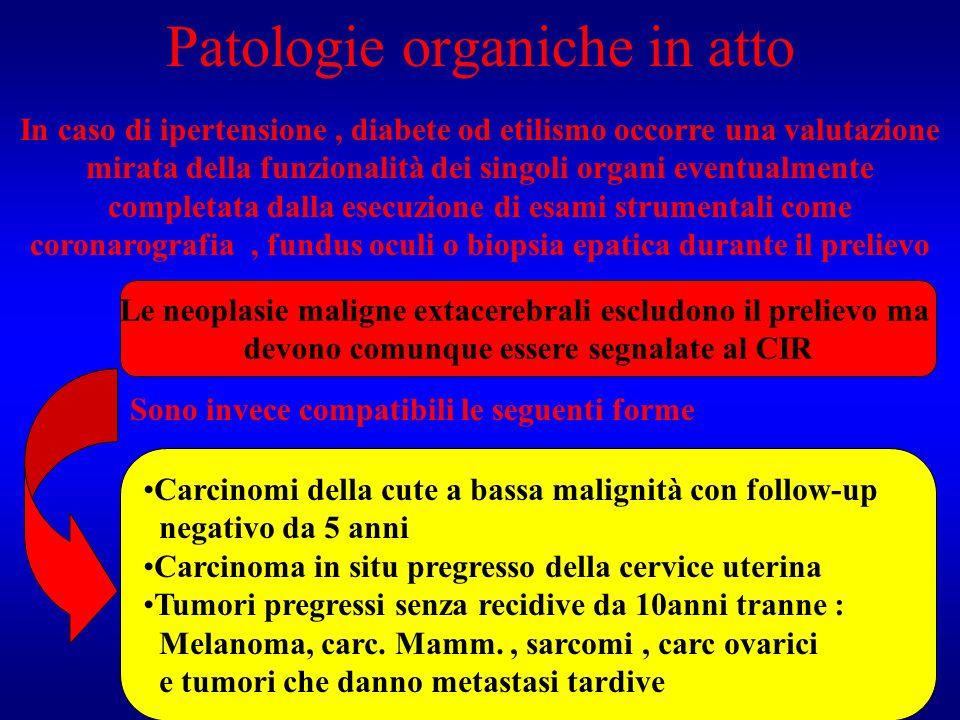 Patologie organiche in atto