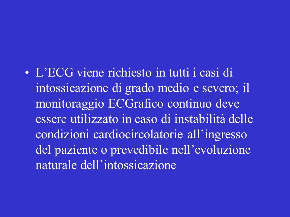 L'ECG viene richiesto in tutti i casi di intossicazione di grado medio e severo; il monitoraggio ECGrafico continuo deve essere utilizzato in caso di instabilità delle condizioni cardiocircolatorie all'ingresso del paziente o prevedibile nell'evoluzione naturale dell'intossicazione