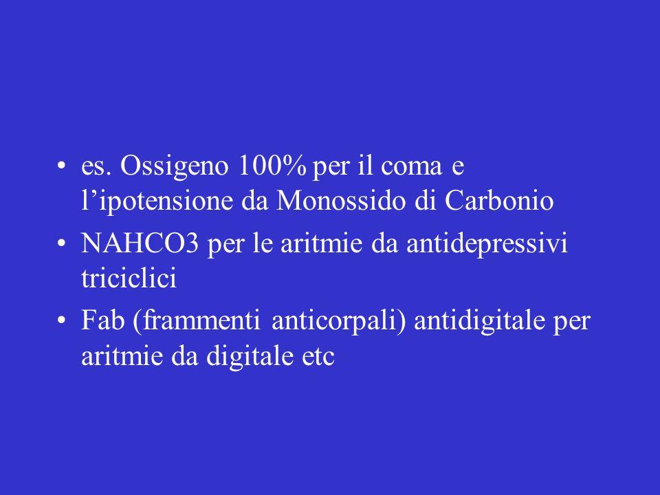 es. Ossigeno 100% per il coma e l'ipotensione da Monossido di Carbonio