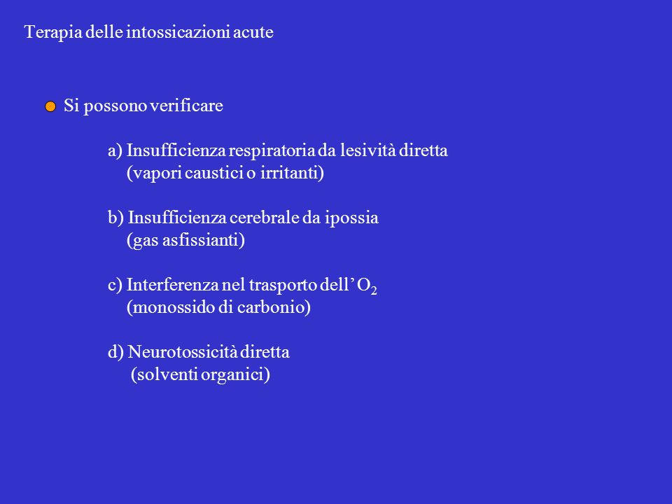 Terapia delle intossicazioni acute