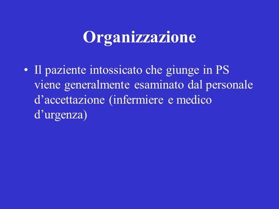 Organizzazione Il paziente intossicato che giunge in PS viene generalmente esaminato dal personale d'accettazione (infermiere e medico d'urgenza)