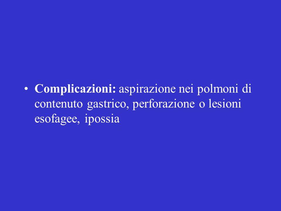 Complicazioni: aspirazione nei polmoni di contenuto gastrico, perforazione o lesioni esofagee, ipossia