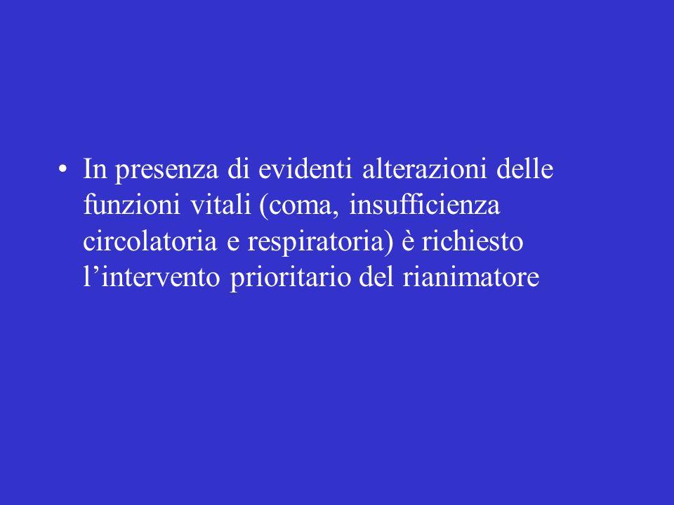 In presenza di evidenti alterazioni delle funzioni vitali (coma, insufficienza circolatoria e respiratoria) è richiesto l'intervento prioritario del rianimatore
