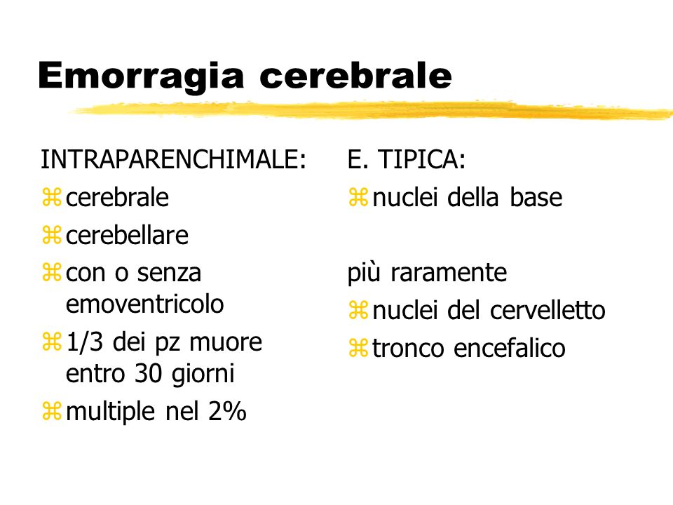 Emorragia cerebrale INTRAPARENCHIMALE: cerebrale cerebellare