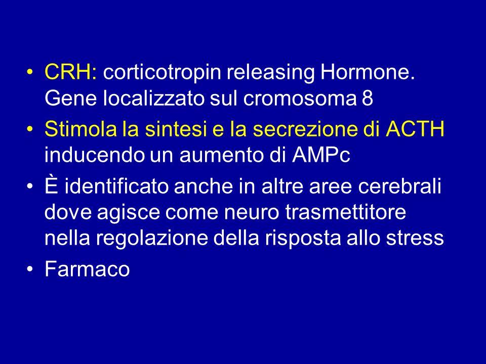 CRH: corticotropin releasing Hormone. Gene localizzato sul cromosoma 8